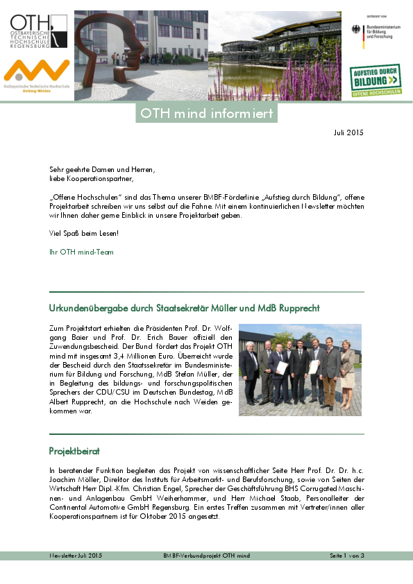 OTH mind Newsletter Juli 2015
